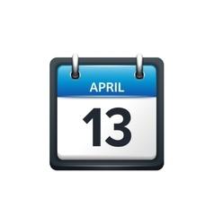 April 13 Calendar icon flat vector image vector image