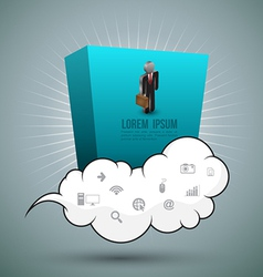 Cloud and rectangle with business man vector image