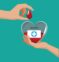 donate blood hand holding heart drop vector image