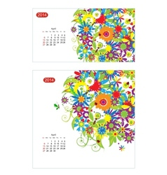 Floral calendar 2014 april Design for two size of vector image