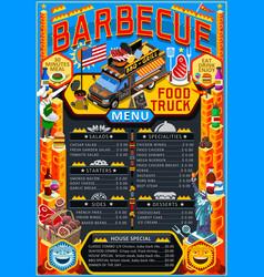 food truck menu street food grill bbq festival vector image
