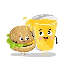 Funny burger and lemonade cartoon characters vector image vector image