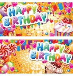 Happy birthday horizontal cards vector image vector image