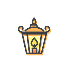 lantern with candle christmas vector image