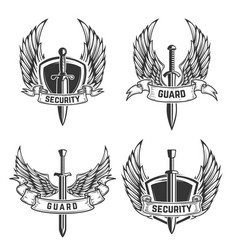 set of security emblems with swords and wings vector image