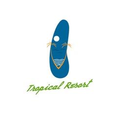 Beach slipper in tropical resort concept vector