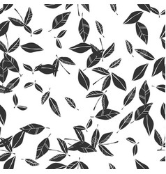 black and white seamless pattern of falling leaves vector image