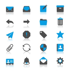 Email flat with reflection icons vector image vector image