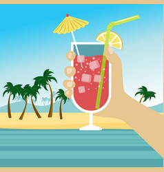 hand holding cocktail over tropical beach vector image