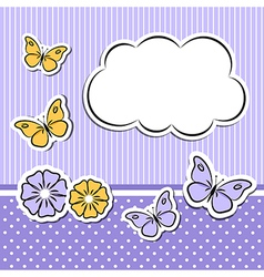 Paper cloud with flowers and butterflies vector image vector image