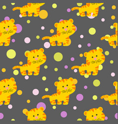 pattern with cute african tiger vector image