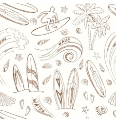 seamless pattern with doodle sketch Surfing sport vector image vector image