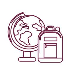 Silhouette earth plenet desk with study bag vector