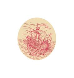 tall ship sailing stormy sea oval drawing vector image vector image
