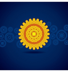 yellow gear on blue background vector image vector image