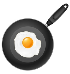 frying pan with egg on white background vector image vector image