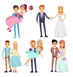 happy smiling wedding couples isolated set vector image vector image