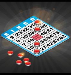 Isometric Bingo Card with winning chips vector image vector image