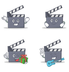 Set of movie clapper character with successful vector