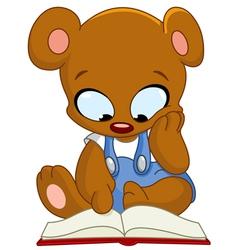 teddy bear reading book vector image