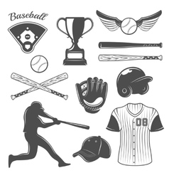 Baseball Monochrome Elements Set vector image
