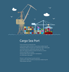 cargo seaport with container ship vector image