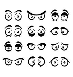 Comic Cartoon Eyes Set vector image