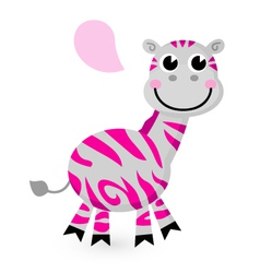 Cute pink zebra isolated on white vector image