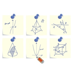 Mathematics and geometry icons vector image
