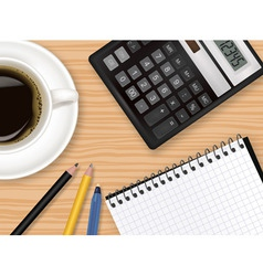 notepad and coffee vector image vector image