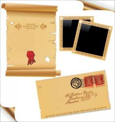 old paper envelope and frames vector image