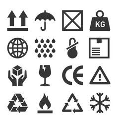 packaging and shipping symbols set vector image vector image