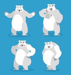 Polar Bear set of different poses Expression of vector image vector image