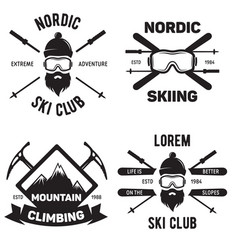 set of ski club vintage mountain winter badges vector image
