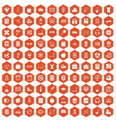 100 learning kids icons hexagon orange vector image