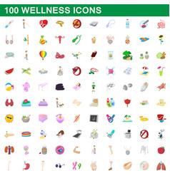 100 wellness icons set cartoon style vector