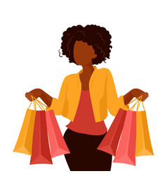 African american woman shopping on sale vector