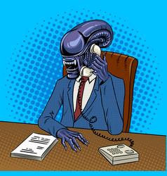 Alien boss talking phone pop art vector