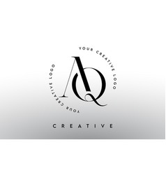 Aq letter logo design with serif typography font vector