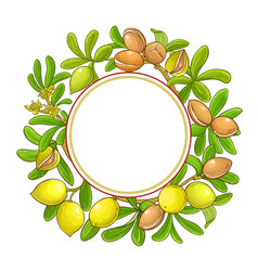 argan branches frame on white background vector image