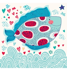 Artistic sealife background vector image