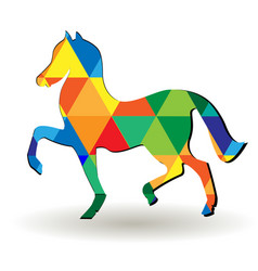artistic triangular abstract horse icon vector image