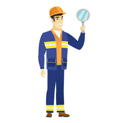 Asian builder holding hand mirror vector