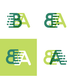 Ba letters logo with accent speed in light green vector