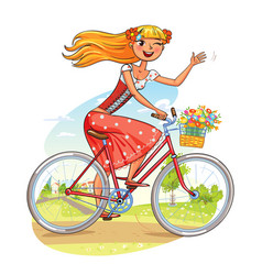 beautiful girl rides a bicycle and waving vector image