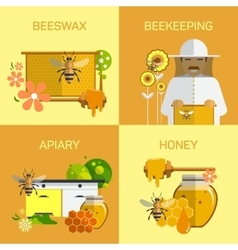 Bee honey organic farm concept vector