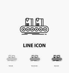 belt box conveyor factory line icon in thin vector image