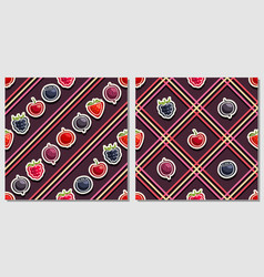 berry seamless patterns vector image