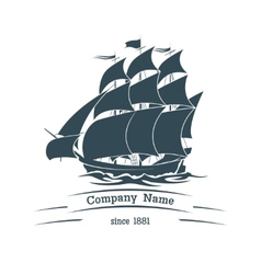 Big sail ship logo icon vector