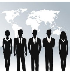 business people teamwork world map background vector image